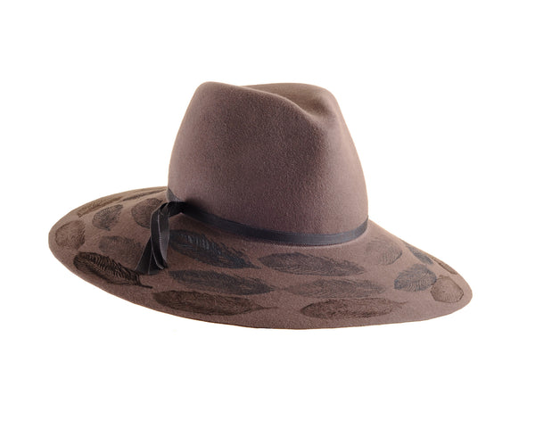 Custom Large Mink Felt Floppy Fedora with Feather Print by Cappellino Millinery