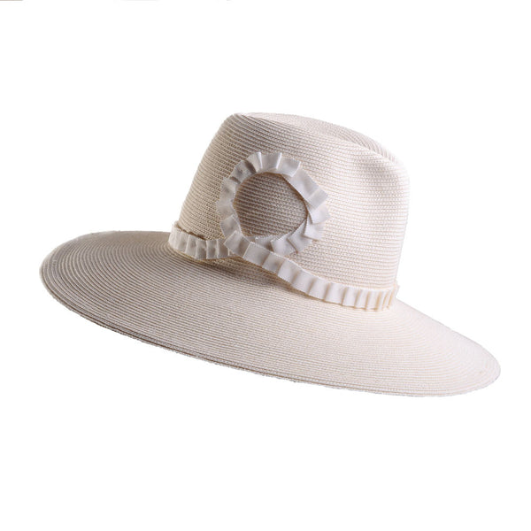 Large White Straw Fedora with Pleated Ribbon by Cappellino Millinery