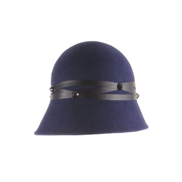 Custom Navy Felt Asymmetric Cloche with Leather Trim by Cappellino Milinery