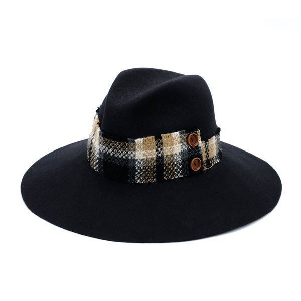 Large Navy and Plaid Fedora by Cappellino Millinery