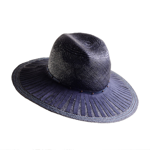 Navy Panama Fedora with Suede Fringe by Cappellino Millinery