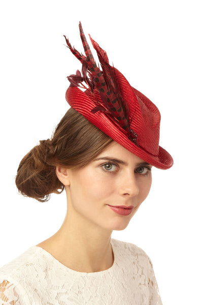 Red Straw Mini Top Hat with Pheasant Feathers by Cappellino Millinery