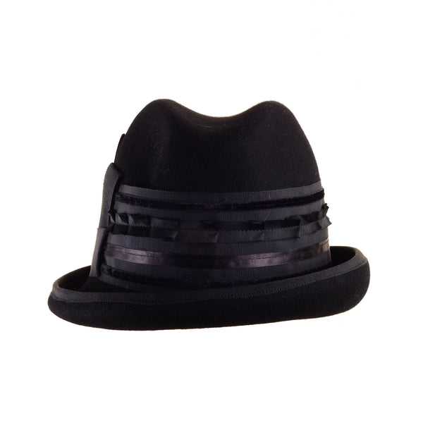 Small Felt Fedora Top Hat with Multi Ribbon Trim by Cappellino Millinery