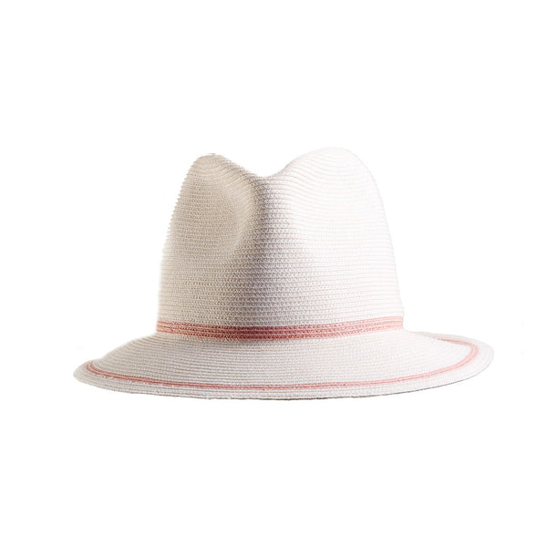 White and Pink Straw Small Fedora: 'Bronte'