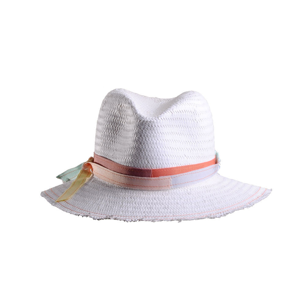 White Straw Beach Fedora with Multi Ribbon Trim by Cappellino Millinery