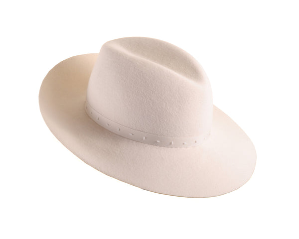 Winter White Custom Felt Fedora with Beaded Trim by Cappellino Millinery