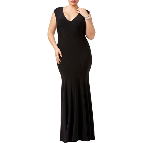 BETSY & ADAM Vestido de fiesta stretch color negro. Talla 20W