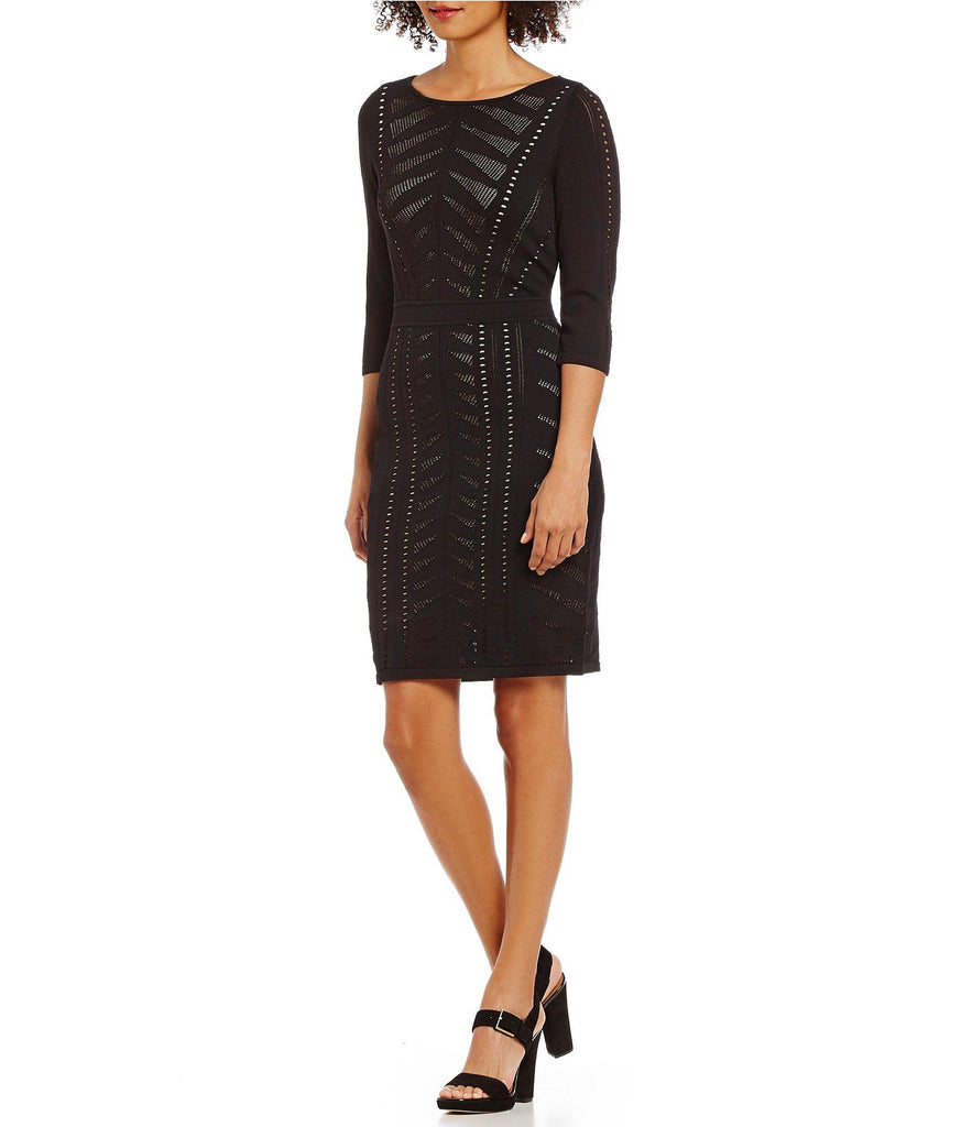 CALVIN KLEIN Vestido stretch perforado color negro. Talla M