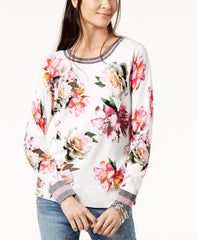 INC International Concepts suéter Varsity con estampado floral. TALLA XL