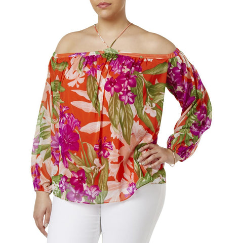 INC International Concepts blusa de chiffon con estampado floral. Talla XL