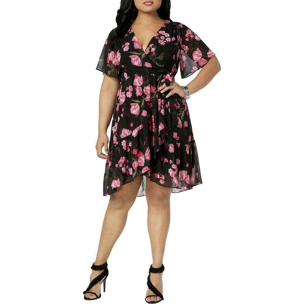 INC International Concepts vestido cruzado con estampado floral. Talla XL