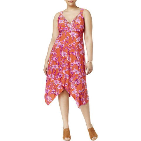 INC International Concepts vestido chiffon estampado floral. Talla XL 758b92c83ccb