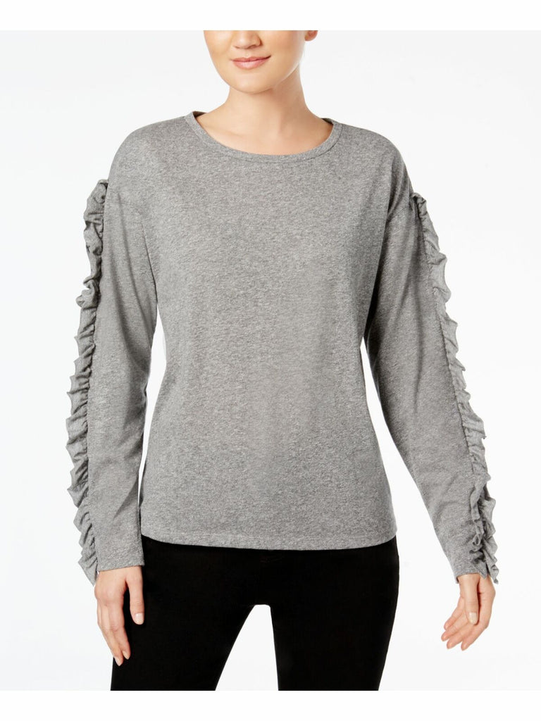 INC International Concepts. Sweater tejido gris con mangas con olanes. Talla M