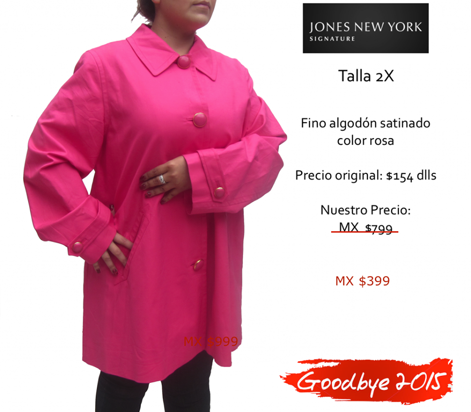JONES NEW YORK gabardina rosa. Talla 2X