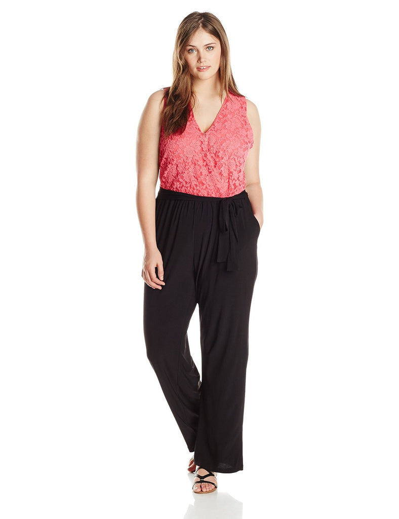 NY Collection Jumpsuit Palazzo stretch top de encaje coral. Talla 3X