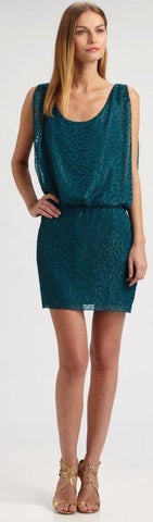 Laundry Shelli Segar Vestido Cocktail de brocado verde. Talla 12