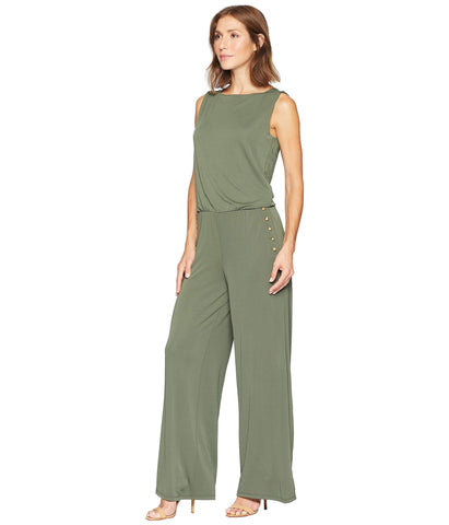 RALPH LAUREN Jumpsuit Palazzo stretch color verde, pierna amplia. Talla L