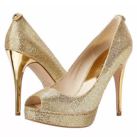 Michael Kors Zapatillas color oro de fiesta peep toe. Talla 24 MX