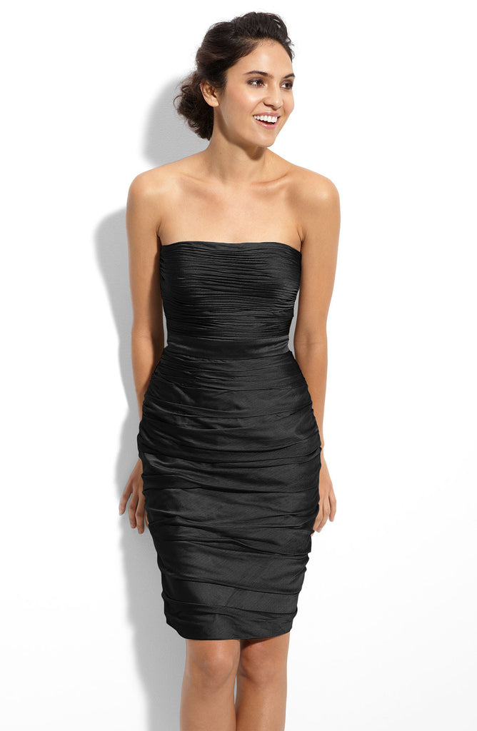 ML Monique Lhuillier vestido strapless de chiffon. Talla 4