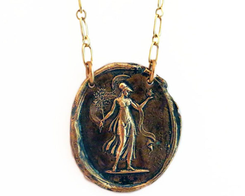 Goddess Athena Wax Seal Charm Necklace