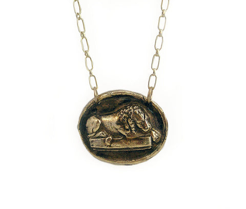 Strong, But Gentle - Sleeping Lion Wax Seal Charm Necklace