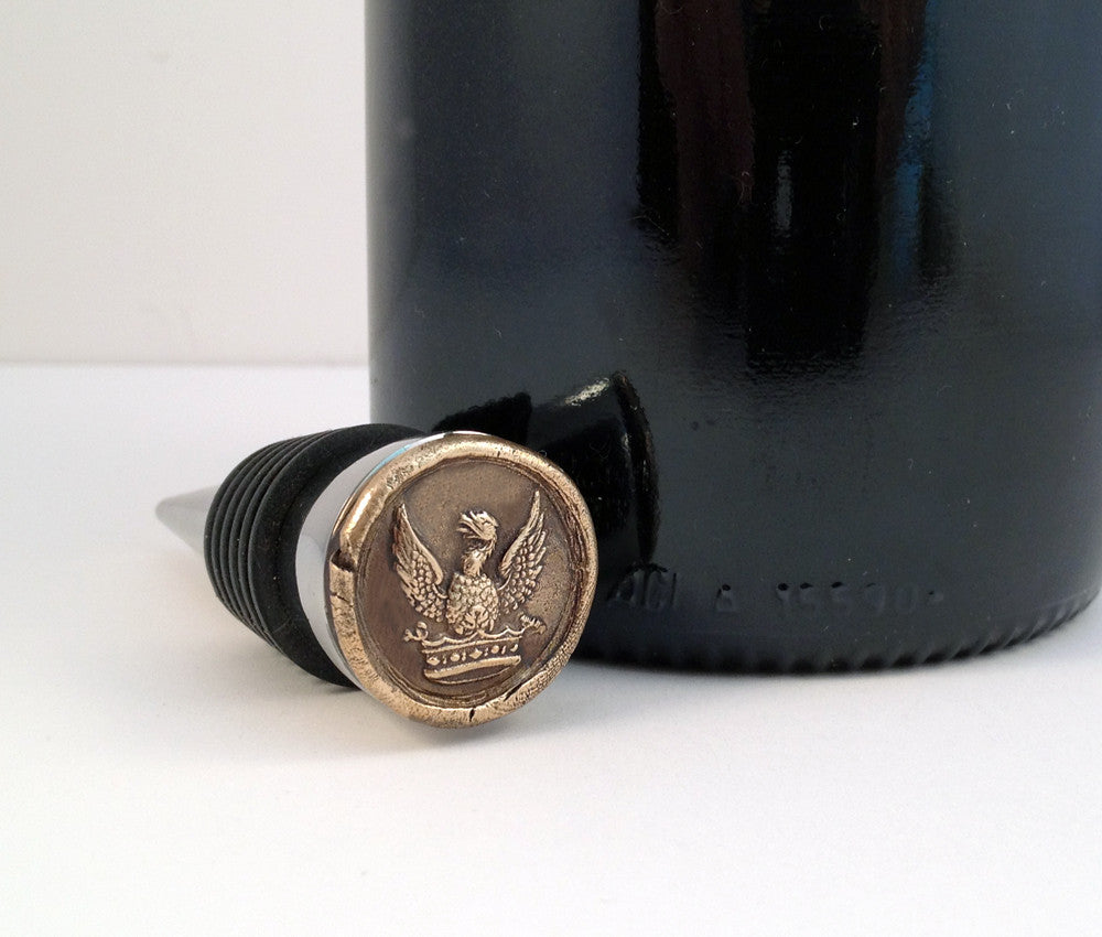 Bronze Eagle Above Crown and Stainless Steel Wine Stopper