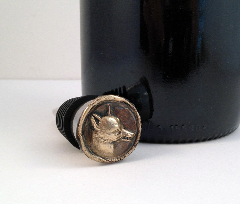 Bronze Fox and Stainless Steel Wine Stopper