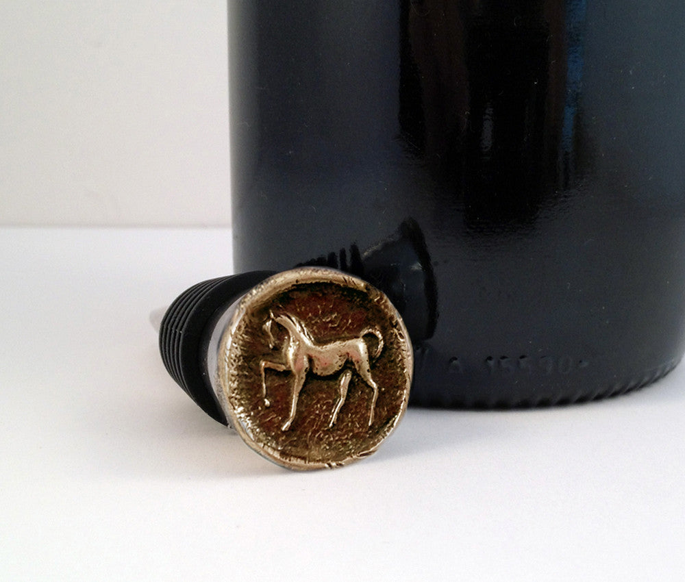 Bronze Prancing Horse and Stainless Steel Wine Stopper