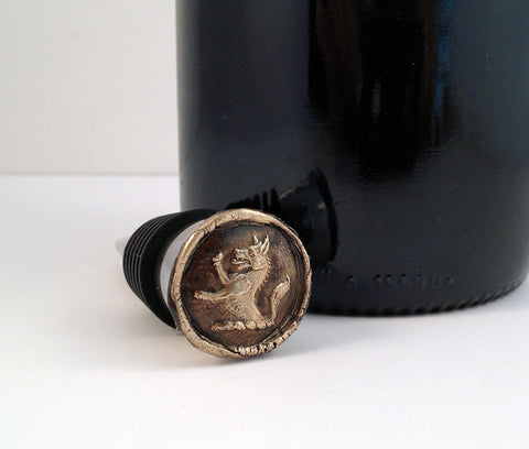 Bronze Rampant Wolf and Stainless Steel Wine Stopper