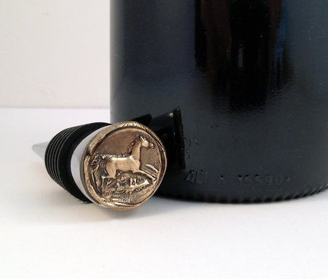 Bronze Running Horse and Stainless Steel Wine Stopper