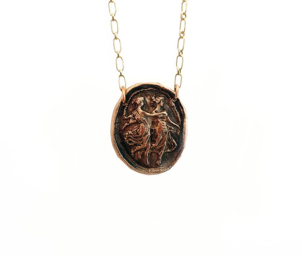 Sisters Wax Seal Charm Necklace