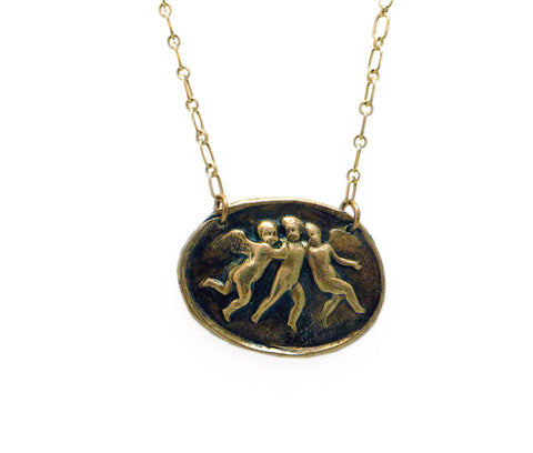 Three Putti Angels Wax Seal Charm Necklace
