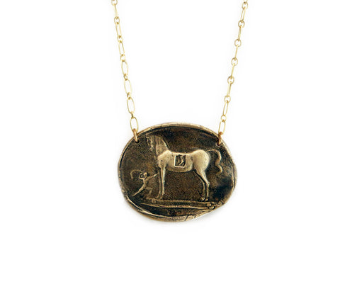 Trojan Horse Wax Seal Charm Necklace