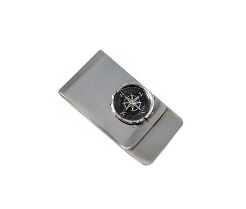 Compass Wax Seal Charm Money Clip