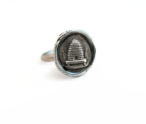 Industry, Steadfastness, and Obedience - Beehive Ring