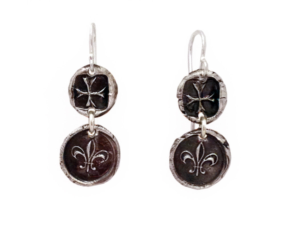 Maltese Cross & Fleur-De-Lis Earrings
