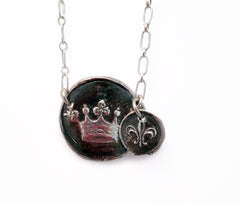 Crown & Fleur-De-Lis Wax Seal Charm Necklace