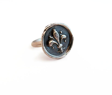 Faith, Wisdom and Valor - Fleur-De-Lis Wax Seal Charm Ring