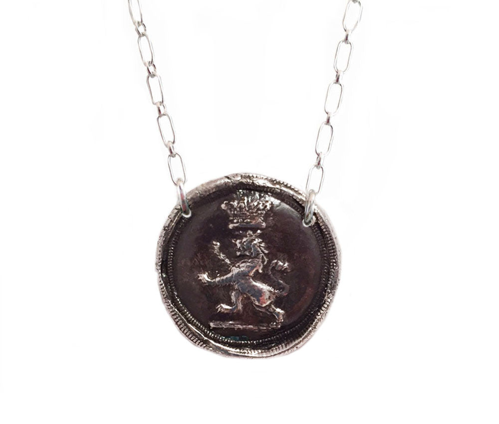 Success and Courage - Lion Under Crown Wax Seal Charm Necklace