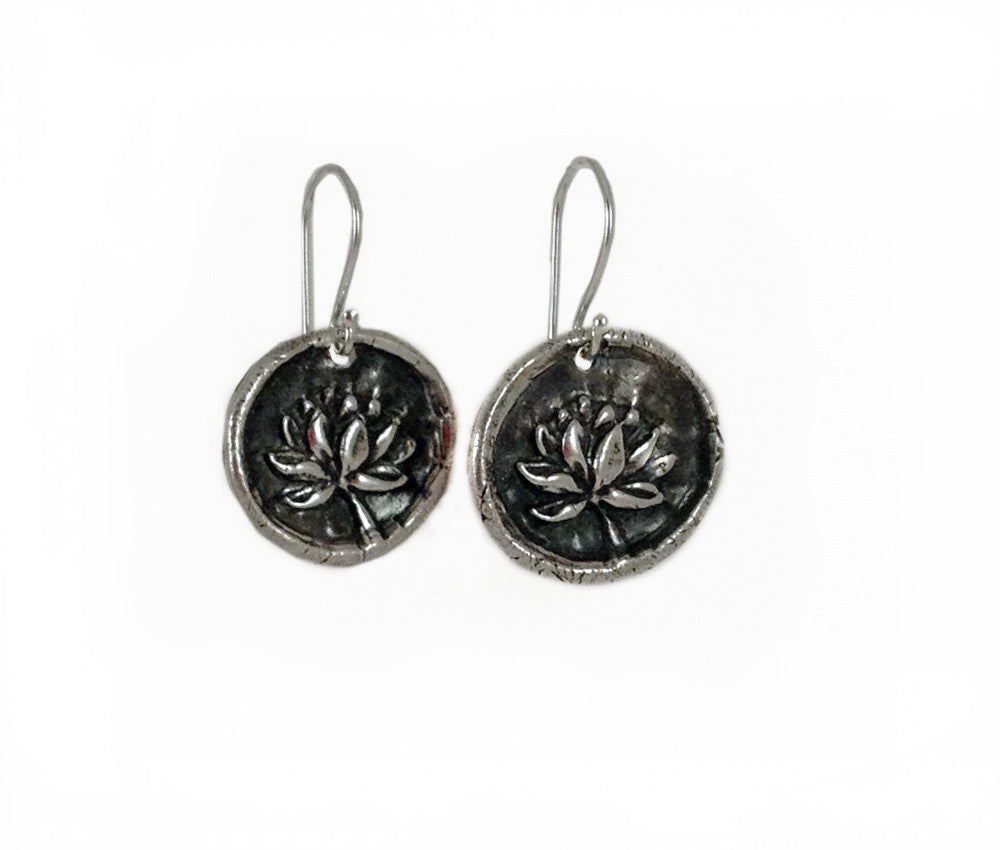 Purity and Rebirth - Lotus Wax Seal Charm Earrings