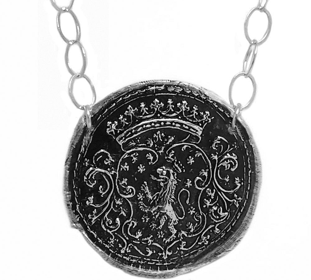 Courage and Success - Medieval Lion Under Crown Necklace