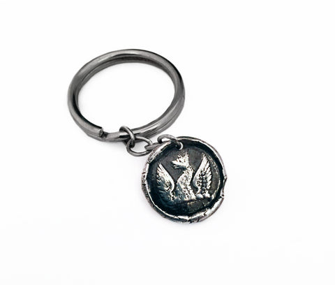 Rebirth and Strengh - Phoenix Wax Seal Charm Key Chain