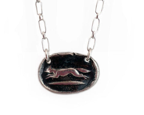Achieve Your Desires –Running Fox Wax Seal Charm Necklace