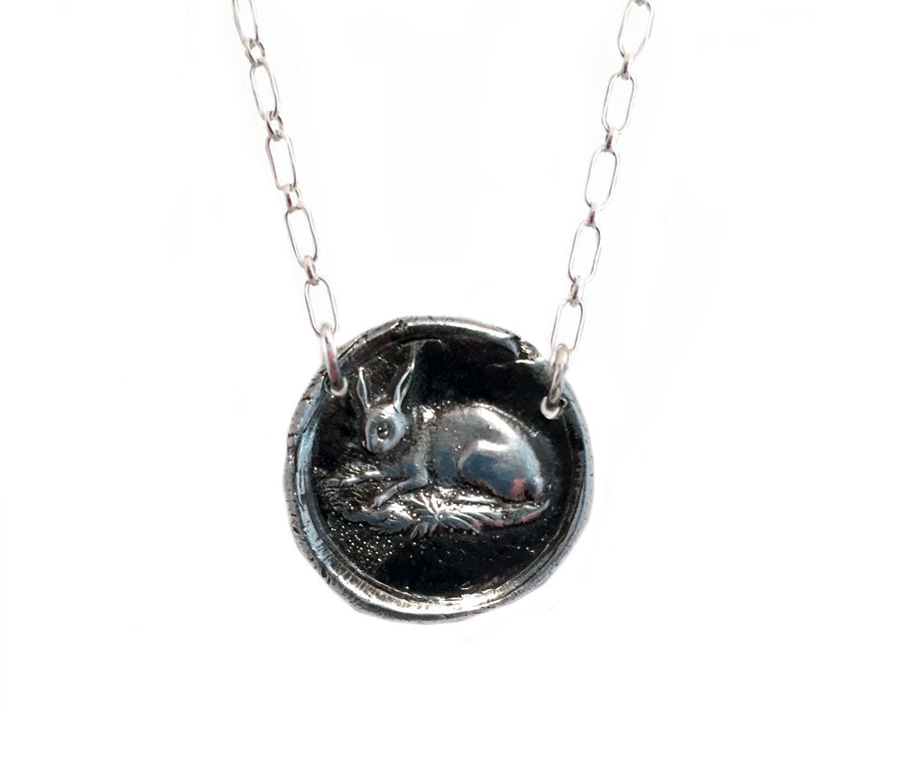 Single Rabbit Wax Seal Charm Necklace