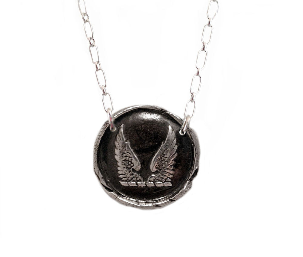 Wings Wax Seal Charm Necklace