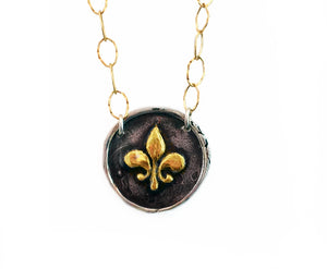 Wisdom, Valor and Faith - Gold and Silver Large Fleur-de-lis Necklace