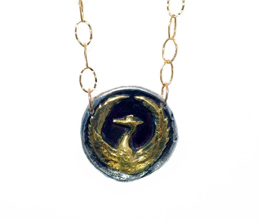 Rebirth - Gold & Silver Phoenix Necklace