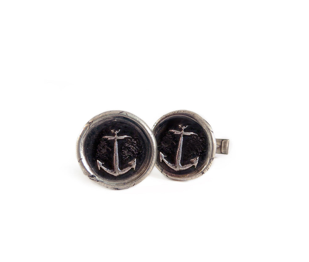 mens jewelry, cuff links, anchor