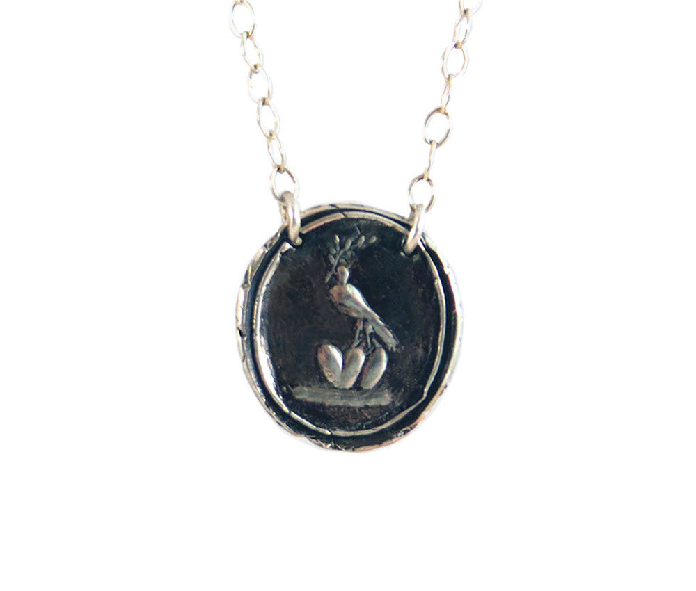 Peace and Love Wax Seal Charm Necklace