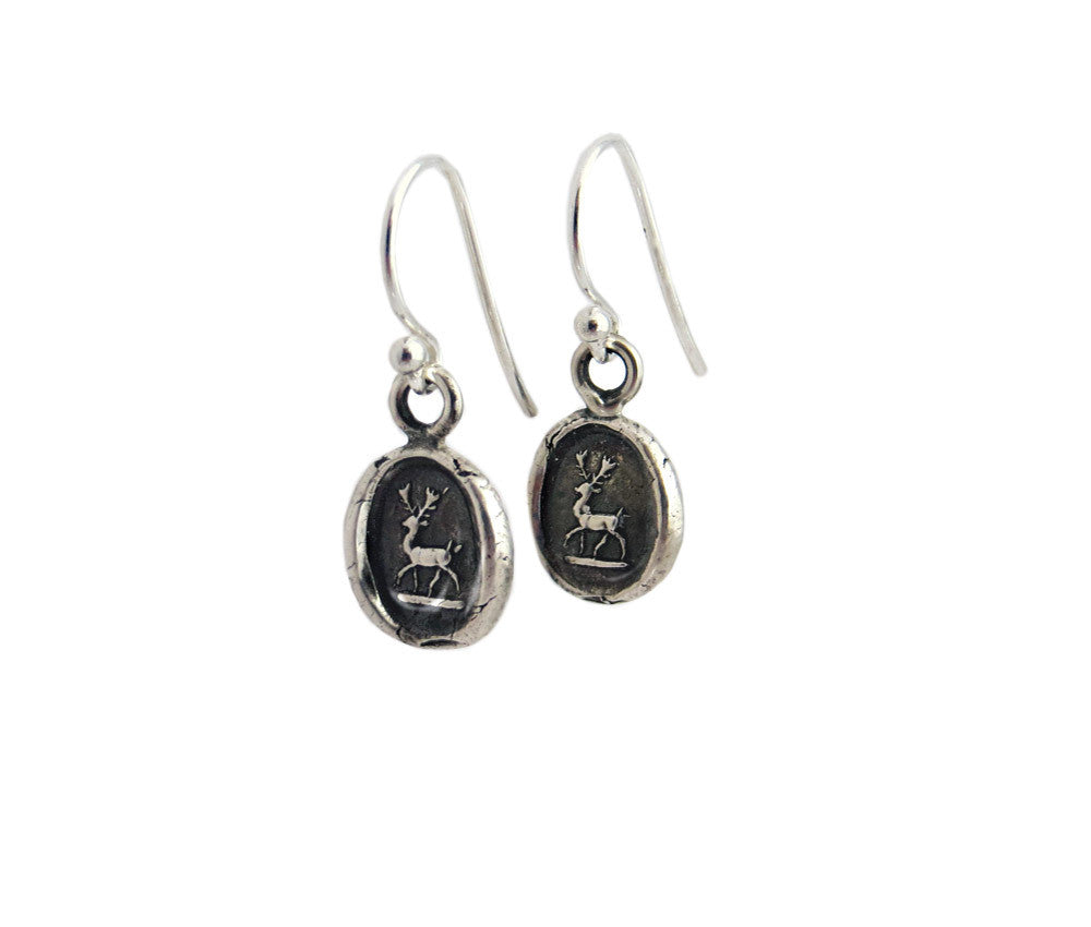 Peace and Harmony - Tiny Stag Wax Seal Charm Earrings
